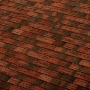 machine made burgundy sandfaced clay roof tile swatch