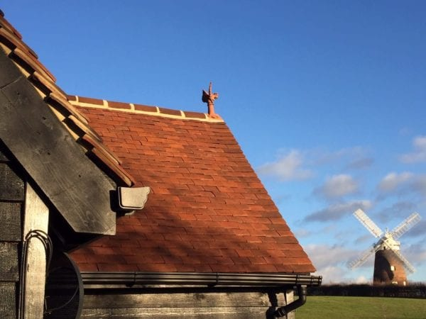 Close up of Woburn handmade clay roof tiles